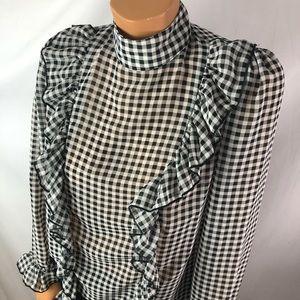 Shein checkered high collar front ruffles blouse L